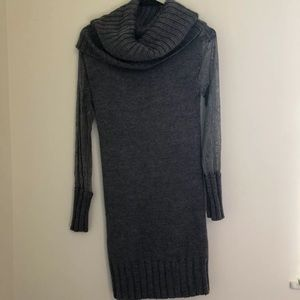 Peppe Peluso Small Sweater Dress Lace Sleeves Gray